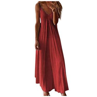 Shakumy Vestido feminino casual de verão floral boêmio, sem mangas, vestido longo de praia, vestido solto de festa, túnica rodado, Z3 - vermelho, XXL