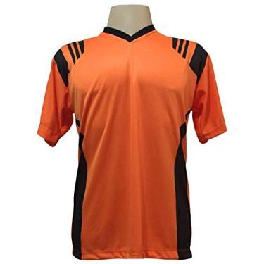 Imagem de Jogo de Camisa com 20 unidades modelo Roma Laranja/Preto + Brindes