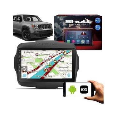 Central Multimídia Jeep Renegade PCD 15 a 20 9 Pol Shut Android Espelhamento Via USB e WiFi BT GPS