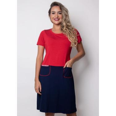 Vestido Pau A Pique Básico Azul Marinho E Vermelho Marinho - M