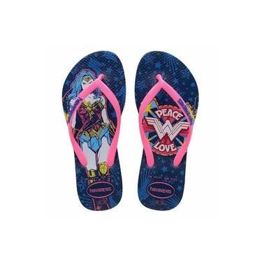 Chinelos Havaianas Slim Wonder Woman Azul Estrela Feminino Original