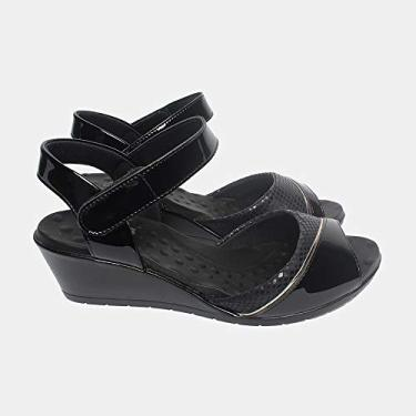 Sandália com Velcro Malu Super Comfort Alana Feminino Preto 34