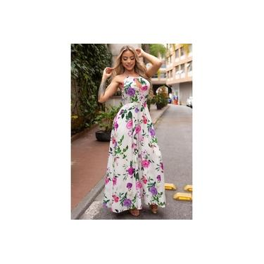Vestido Miss Misses Longo com Estampa Floral Off-White