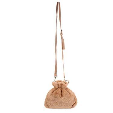 Bolsa tiracolo de pelúcia com cordão da Valicclud, bolsa de ombro macia, bolsa para celular, para meninas, mulheres, festas de aniversário, compras, Caqui, 25X25X3cm