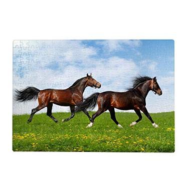 Imagem de ColourLife Quebra-cabeças quebra-cabeça presente de arte para adultos, adolescentes, cavalos, correndo sob o lindo céu, jogos de quebra-cabeça de madeira, 300/500/1000 peças, multicolorido