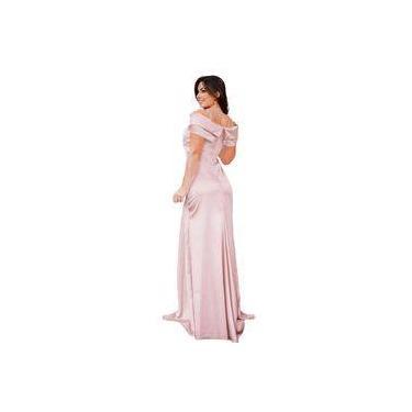 Vestido Longo Madrinha Rosa Claro Ocasião Especial Civil