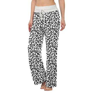Calça de pijama confortável feminina LONGYUAN casual calça de ioga com cordão Palazzo para relaxar Perna larga para todas as estações, Leopard White, 3X-Large