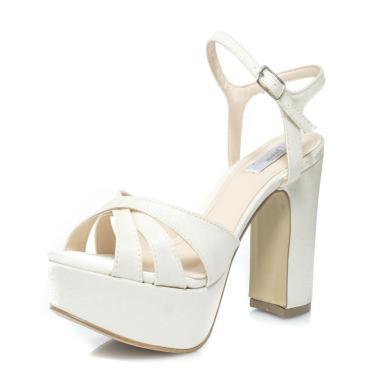 Sandália Durval Calçados Noiva Velvet Plataforma Salto Largo - St56837 Off White  feminino