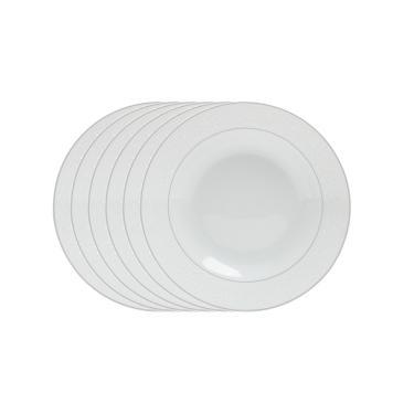 Jogo de pratos fundo em porcelana Wolff Marrocos 6 peças branco e prata
