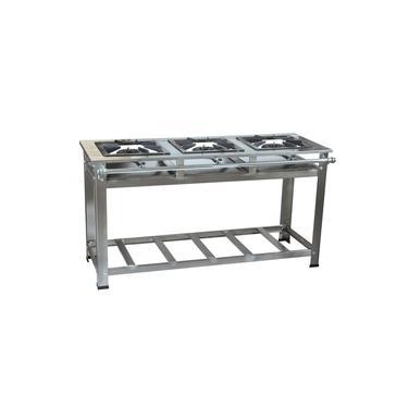 Fogão Industrial 3 bocas 30x30 Perfil 7 de Alta Pressão Em Aço Inox