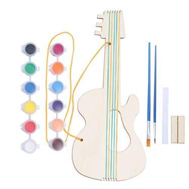 Exceart Kits de artesanato de madeira em forma de guitarra, kits de pintura artesanal, brinquedo de arte de madeira para meninos, crianças, meninas, presente para amantes de instrumentos musicais