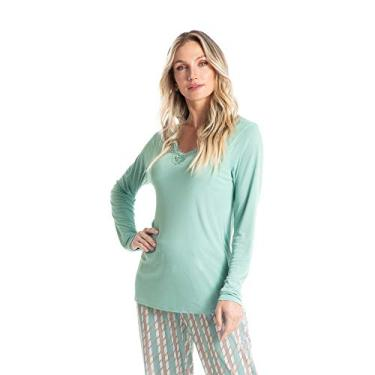 Pijama Longo Estampado Liz Bege/P