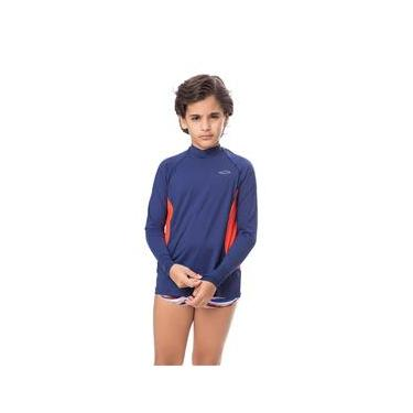 Imagem de Camisa UV Masculina Juvenil +50 Lisa Azul Marinho
