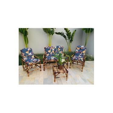 conjunto sofá de área bambu 4 lugares de fabricação 100% artesanal - 1 sofá + 2 cadeiras + 1 mesa