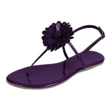 Rasteira Mercedita Shoes Flor Veniz Uva  feminino