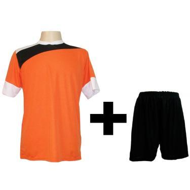 Imagem de Uniforme Esportivo Com 14 Camisas Modelo Sporting Laranja/Preto/Branco + 14 Calções Modelo Madrid Preto + Brindes
