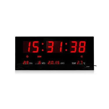 Relógio De Parede Led Digital 36cm x 15cm Com Termômetro Alarme Calendário em Português