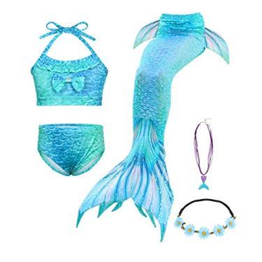 AmzBarley conjunto de biquíni para crianças meninas sereia roupas de banho cauda sereia maiôs com colar e grinalda azul tamanho 130 (7-8 anos)