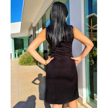 Imagem de Vestido Liz Crepe Alfaiataria decote coração com Zíperes e Botões Dourados Tamanho:M