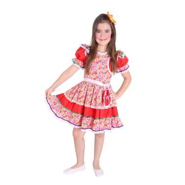 d9a4e1dec3 Fantasia Caipira Infantil Luxo Com Bolsa Festa Junina - G 9 - 12