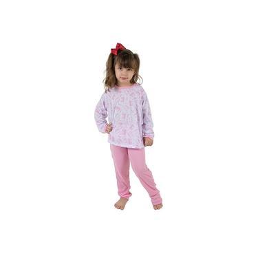 Pijama Infantil Menina Manga Longa Estampado