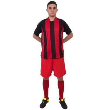 Uniforme Completo Milan 18+2 Preto/Vermelho (18 Camisas + 18 Calções + 18 Pares De Meiões + 2 Conjuntos De Goleiro) + Brindes