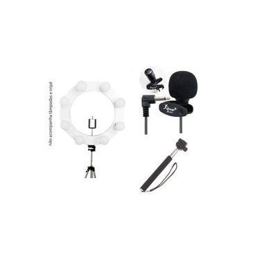 Kit Youtuber ring light profissional 40 cm grande live luz quente e fria decorativo iluminação + microfone de lapela gravador + bastão de selfie monopood