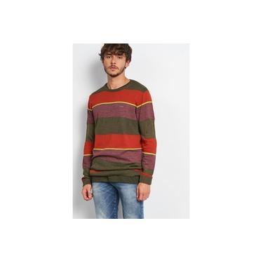 Suéter Tricô Listrado Verde Coral Neon e Vinho