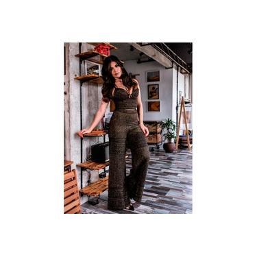 Calça Miss Misses pantalona Preto Dourado 18037