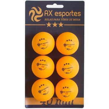 Bola de Tênis de Mesa Oficial 3 Estrelas AX Esportes com 6 - FA491 - Unissex