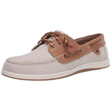 Sperry Songfish Sapato náutico feminino listrado brilhante, Linen, 9.5