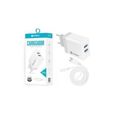 Carregador Rápido 3.4A Fonte 2 Entradas USB + Cabo Lightning Original Sumexr iPhone 12 mini, 12, 12 Pro, 12 Pro Max