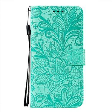 JZ Capa carteira protetora com flores de renda para iPhone 8/7/SE 2020 com alça de pulso e capa flip magnética - Verde bebê