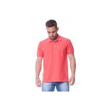 38dc6a09b0 Camisa Masculina Lisa Gola Polo Coral com Bolso - Sapocaco