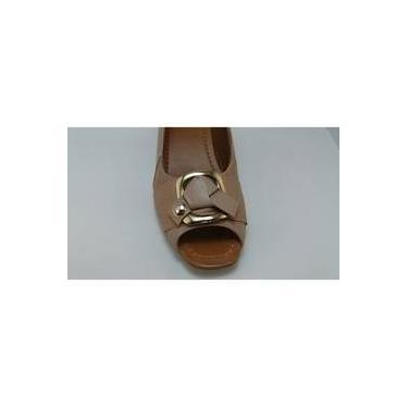 Sapato Usaflex Peep Toe Salto Grosso S6560 Bege