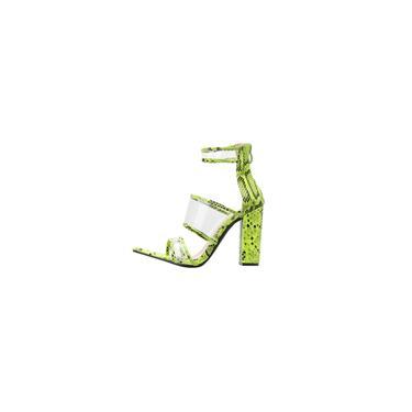 Sapatos femininos com zíper quadrado de salto alto sapato peep toe casual sapato padrão cobra
