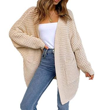 Cardigã suéter, feminino, manga morcego, frente aberta, cardigã de tricô grosso com bolsos, Bege, M