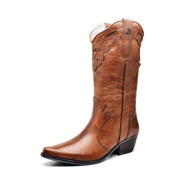 Bota Texana Country Click Calçados Couro Caramelo Cano Longo Bico Fino  feminino