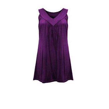 Túnica feminina Abetteric sem mangas gola V plissada cor pura conforto camiseta túnica, Roxa, US 2XLarge