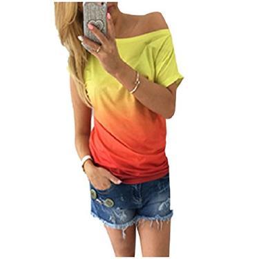 Camiseta feminina Abetteric de manga curta e várias cores, arco-íris, ombré, respirável, Laranja, US X-S=China S