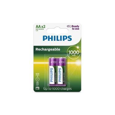 Pilha recarregável AA 1000mAh - com 2 unidades - Philips