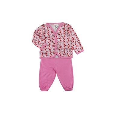 Pijama de Bebê Mafessoni Casaquinho Estampado e Calça Rosa