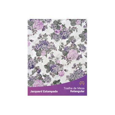 Imagem de Toalha De Mesa Retangular Em Tecido Jacquard Estampado Floral Lilás