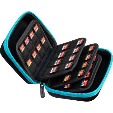 Butterfox Switch Game Card Case, 64 slots, Suporte de armazenamento Hard Case para Nintendo Switch Game ou PS Vita ou Cartão de Memória SD (Blue Turquesise/Black)