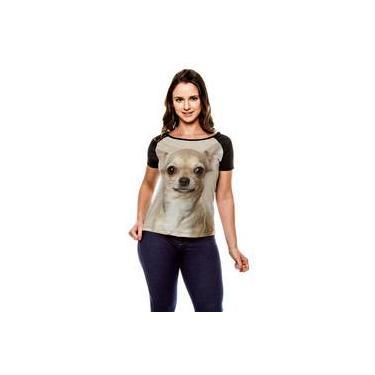 Camiseta Raglan Cachorro Chihuahua Bege Baby Look