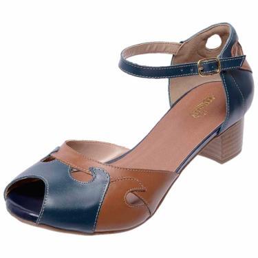 Sandália Salto Baixo em Couro Miuzzi Azul Marinho  feminino