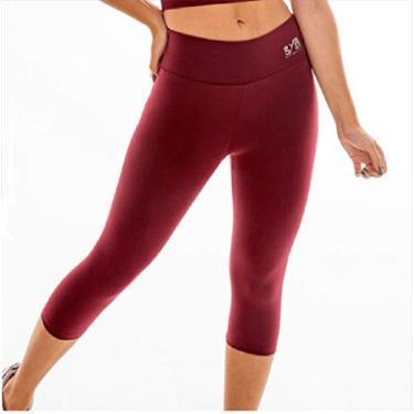 Calça legging GG corsário fitness academia BYG Ring Marsala