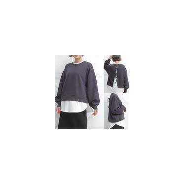 Suéter sólido redondo com decote redondo e solto falso duas peças nas costas Cardigan falso com renda para cima manga comprida top