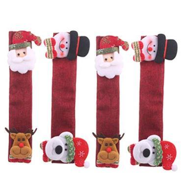 LIOOBO 4 peças de capas para maçaneta de geladeira padrão de Natal para cozinha, protetor de eletrodomésticos de micro-ondas, forno, lava-louças, maçaneta de porta