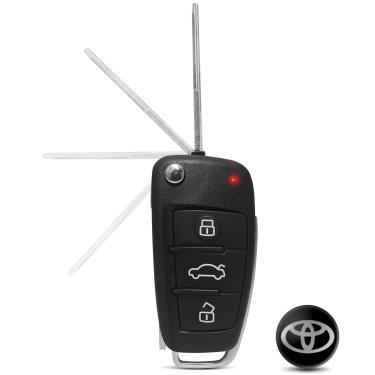 Chave Canivete Modelo Audi HCS Para Alarmes Pósitron + Com Emblema Toyota Prata